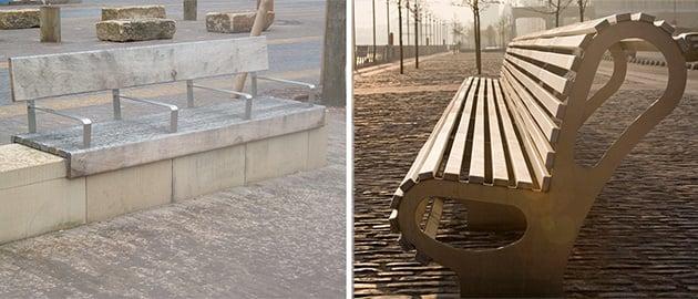 Benches designed to make sleeping impossible. (Denna Jones via Flickr, William Murphy via Flickr)