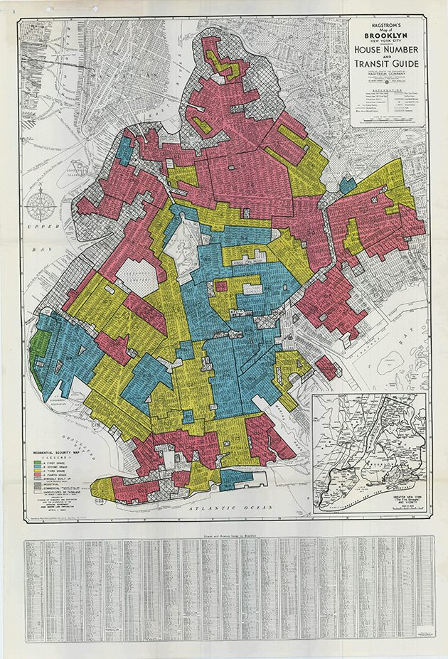 Original Home Owners' Loan Corporation redlined map of Brooklyn, New York. (Urban Oasis)
