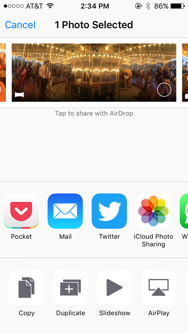 The photo and app peeking out from the side give users a hint that they can scroll to see more.