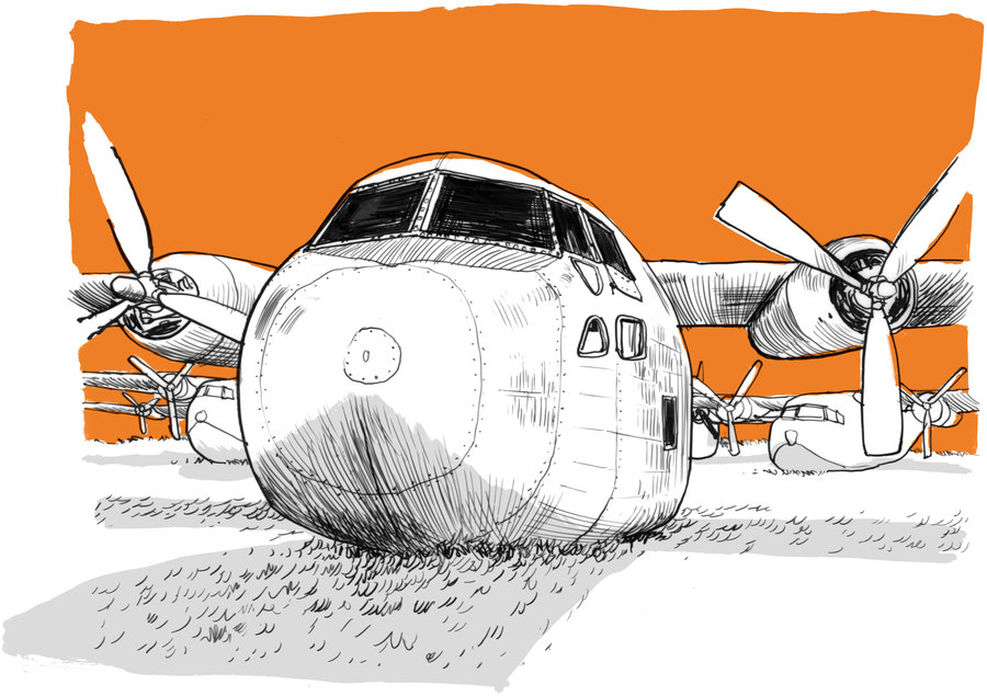 After their service, many C-123s were retired to a sprawling graveyard for airplanes in Arizona. After Agent Orange residue was found on some of the planes, the Air Force ordered them chopped up and melted down in 2010 on the recommendation of Alvin Young. (Matt Rota, Special to ProPublica)