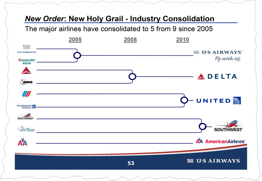 An industry presentation celebrating mergers, which have allowed airlines to introduce new fees.