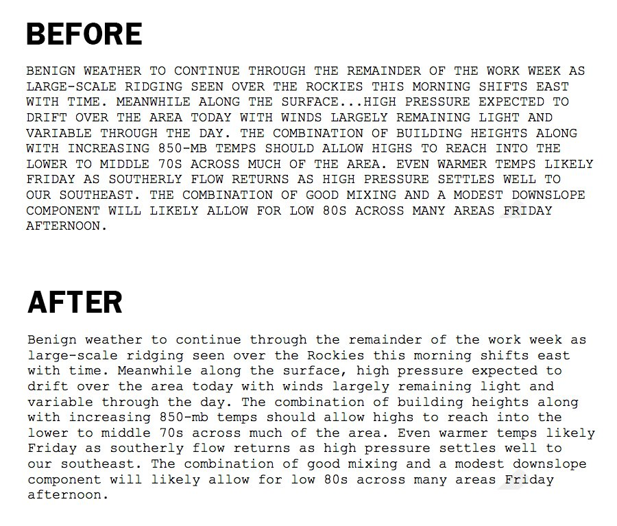 Samples of both ALL CAPS and mixed case area forecasts from the weather service. Source: NOAA