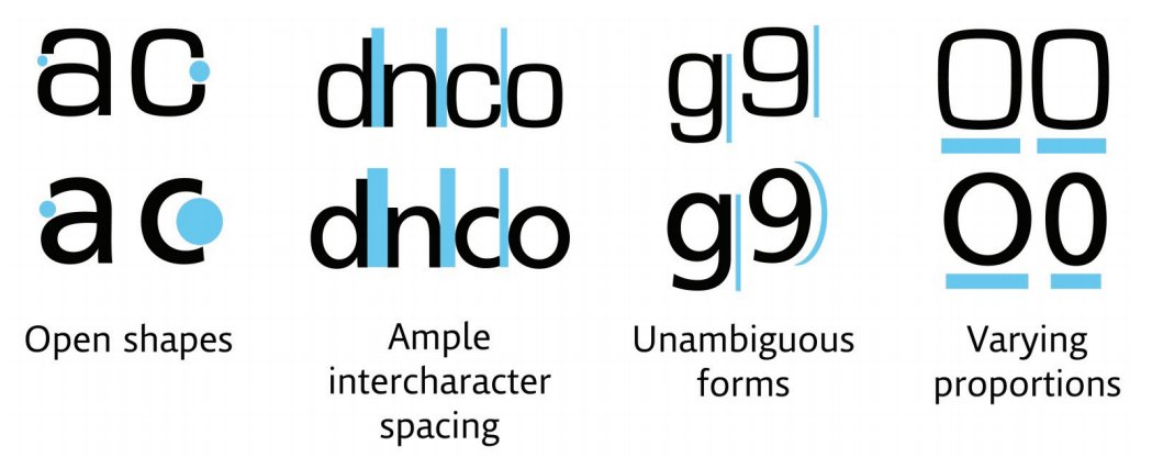 A square-shaped typeface (Eurostile) on top compared to the humanist typeface (Frutiger) on the bottom. Source: Monotype Imaging.