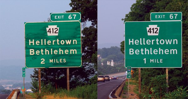 Highway Gothic (left) compared to the new alternative typeface, Clearview. Source: Terminal Design, Inc.